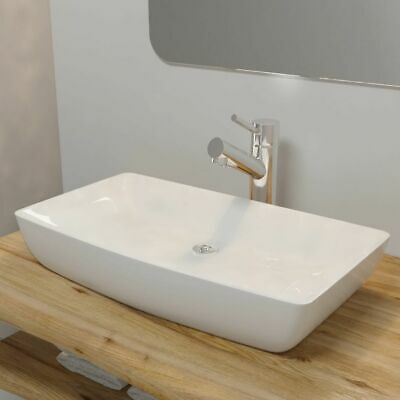 Bathroom Ceramic Basin Vessel Sink Wash Basin Rectangular White 71 x 39 cm