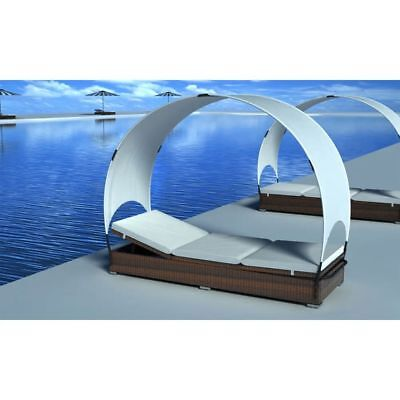 New Outdoor Rattan Lounge Bed Lounge Chair with Canopy Garden Furniture Brown