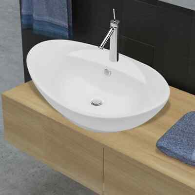 Bathroom Ceramic Basin Vessel Sink Wash Basin Oval White 59 x 40 x 20 cm