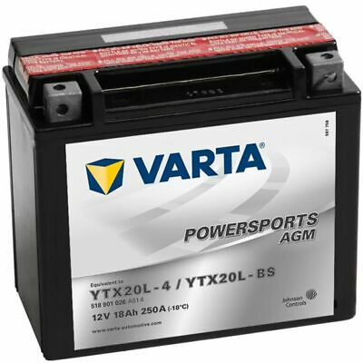 New Varta Sealed Motorcycle Powersports AGM Battery YTX20L-4 / YTX20L-BS Charged