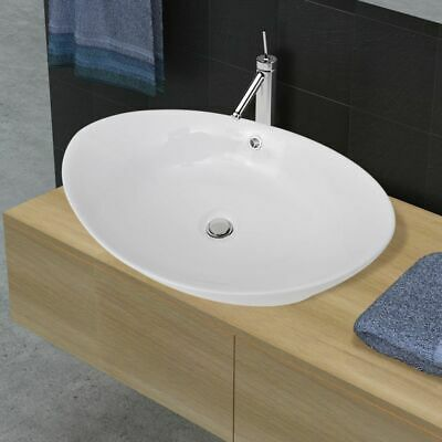 Bathroom Ceramic Basin Vessel Sink Wash Basin Oval White 59 x 38,5 x 19 cm