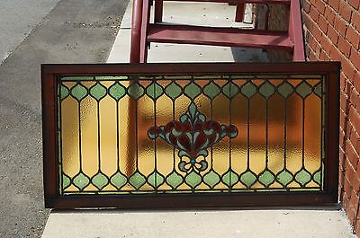 Antique stained glass window fleur de lis pattern. $ 835.60architectural salvage