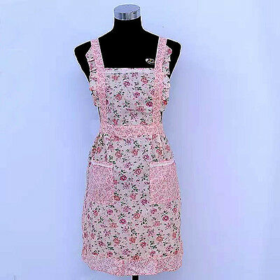 Vintage Style Country Flowers Lace Pockets Pinafore Apron with Lining Pink