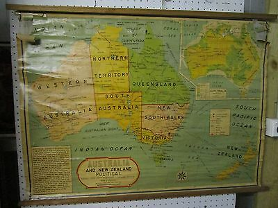 Vintage Australia & New Zealand Map, HUGE, Made in India, 100 x 72 cm,1962-1963