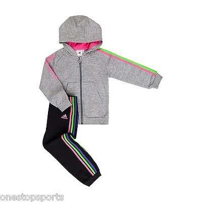 adidas girls grey 3 stripe infant/baby tracksuit. Jogging suit. Ages 3-6M & 6-9M