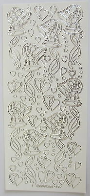 WEDDING BELLS HEARTS /& RIBBONS WHITE AND SILVER PEEL OFF STICKERS CARDMAKING