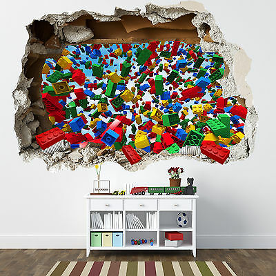 Lego Smashed Wall Sticker - 3D Bedroom Lego Bricks Boys Girls Decal