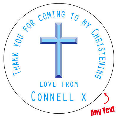 35 x Personalised Blue Cross Christening Baby Party Sticker Thank you Favour 573
