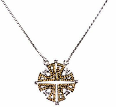 Double side silver 925 opening Jerusalem cross swarovski pendant + necklace gift