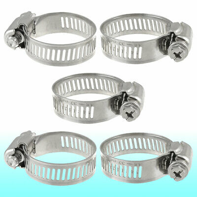 5 Pcs 18mm-32mm Adjustable Stainless Steel Worm Drive Hose Clamps