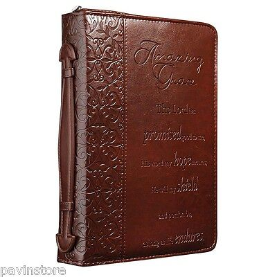 Amazing Grace Medium Embossed Bible Book Cover  Faux Leather Cross Engraved Zip