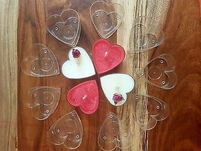 50 Heart Tealight Cups including wicks. Make your own Tea Lights