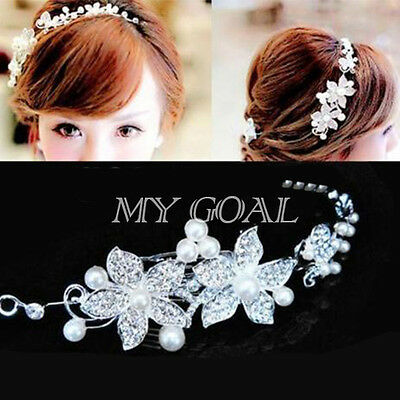 UK Wedding Party Bridal Bridesmaid Headband Tiara Crystal Diamante Flower Pearl