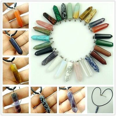 Natural Mix agate Hexagonal Point Pendant Chakra Gemstone Jewelry Necklace Beads
