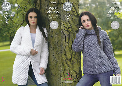 Ladies Super Chunky Knitting Pattern King Cole Easy Knit Sweater & Jacket 4363