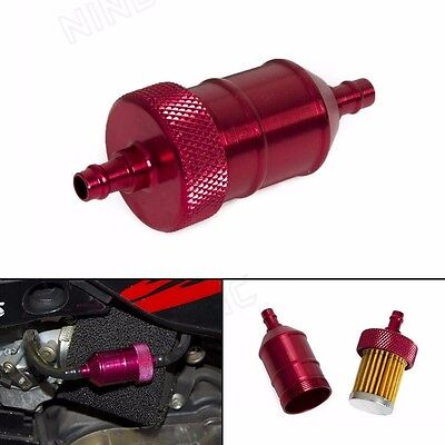 "Red Aluminum Fuel Filter Reusable Washable Element For Honda 1/4"" 5/16"""