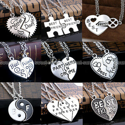 Best Bitches BFF Broken Heart Best Friends Forever Pendant Chain Necklace Gifts