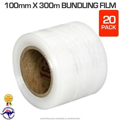 20 x Rolls 100mm x 300m 20um Clear Stretch Wrap Bundling Film Pallet Wrapping