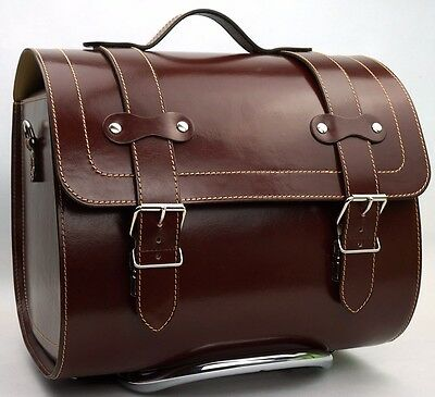 LARGE Leather Top Case Roll Bag Vespa Primavera PX LX LXV GTS GTV Vintage Brown