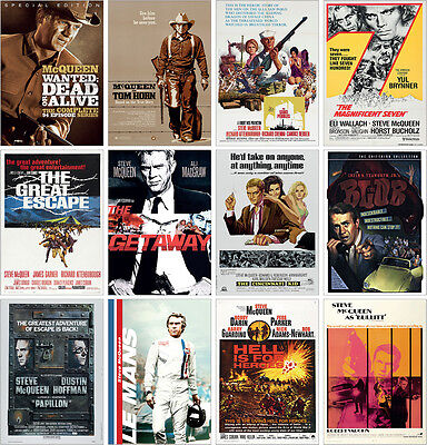 Steve McQueen Classic Movie Posters Magnificent Seven, Great Escape, Bullitt ...