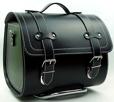 LARGE Leather Top Case Roll Bag Vespa Primavera PX LX LXV GTS GTV Vintage Black