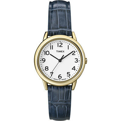Timex Women's Indiglo Watch Gold Blue Leather Band