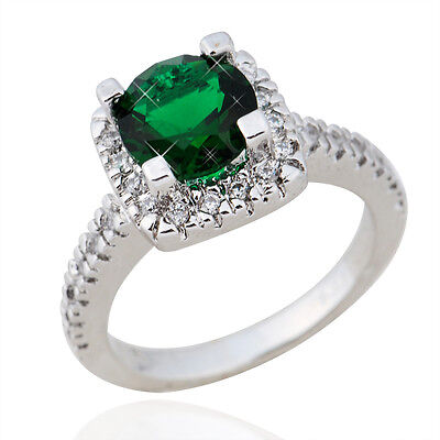 Jewelry Rings Size M-T 1/2 Green Emerald Crystal CZ Womens White Gold Filled