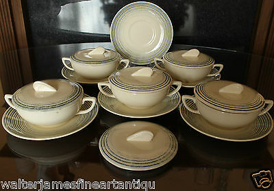 17 Piece SUSIE COOPER Lidded Soup Coupe & Plate Set