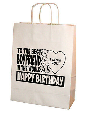 """Best Boyfriend In The World"" Personalised Happy Birthday Gift Bag 25cm x 31cm"