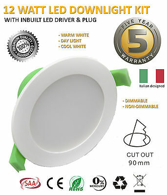 10x 12W IP44 LED DOWNLIGHT KIT 90MM CUTOUT WARM WHITE WITH PLUG DIM DIMMABLE 10