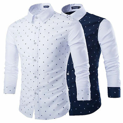 Hot Fashion Men's Luxury Casual Slim Fit Stylish Formal Dress Shirts Long Sleeve