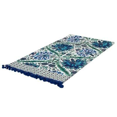 Turquoise Navy Turquoise & Gold 100% Cotton Printed Table Runner 130cm x 35cm