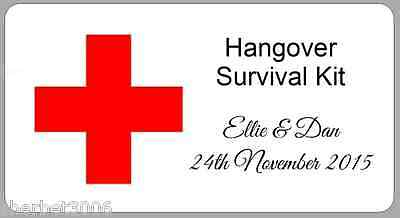 24 x Personalised Stickers Hangover Survival Kit Wedding Favour Labels