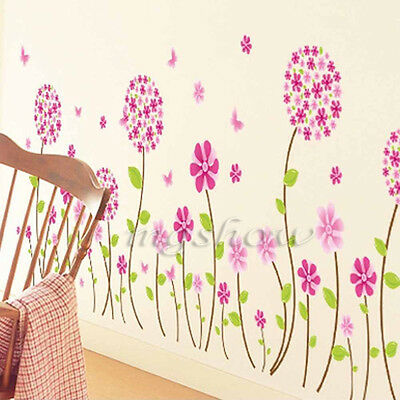 DIY Pink Flower Leaf Removable Vinyl Wall Decal Stickers Art Mural Home Decor
