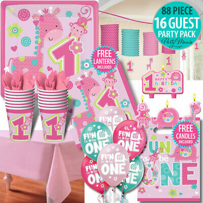Girl 1St First Birthday Party Supplies Jungle 91 Pc Party Pack Napkins Balloons