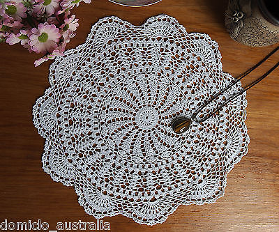 Extreme Fine Yarn Cotton Hand Crochet Lace Doily Doilies Round 30CM White FP02