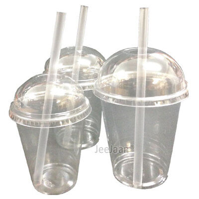Smoothie Cups And Domed Lids Clear Plastic Tableware Party Milkshake Juice Glass
