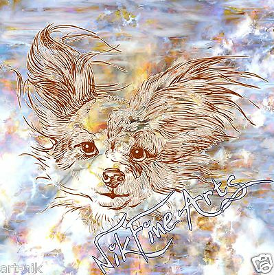 Original Painting Large Signed Art Abstract Collector Investment Chihuahua Dog