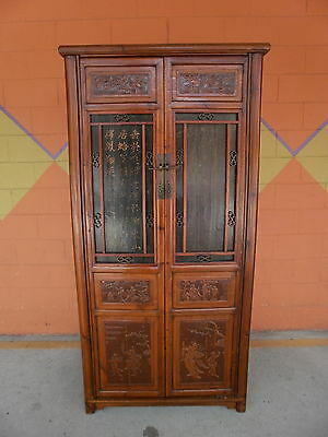 CHinese QING ELm wood Cabinet Armoire Panels of Carved Figures Calligraphy SALE!