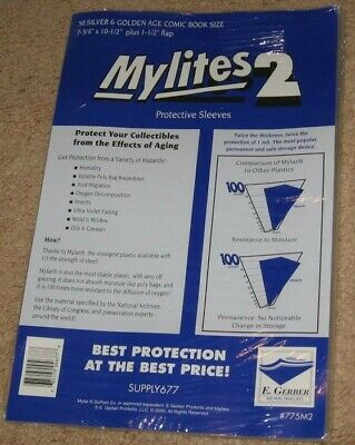 Pack 50 Mylites 2 Mil Mylar Dell /Thick Silver Age Comic Book Bags sleeves 775M2