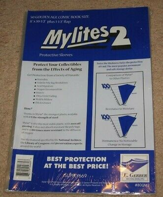 Pack of 50 Mylites 2 Mil Mylar Golden Age Comic Book Bags sleeves