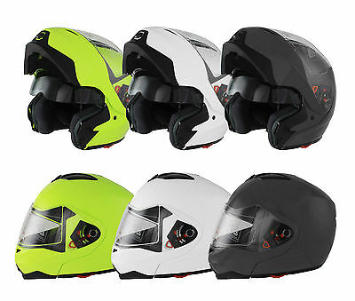 New Modular Flip Up Front Motorcycle Motorbike Scooter Crash Helmet Dual Visor