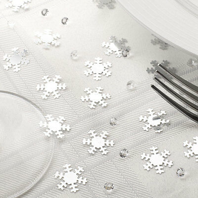 SILVER SNOWFLAKE Crystals CHRISTMAS TABLE CONFETTI Decoration Scatter Xmas Party