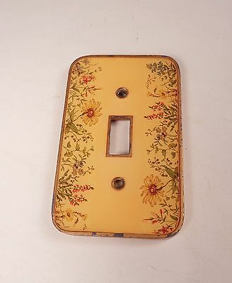 Vintage Recessed Acrylic and Metal Switch Plate Flower Design