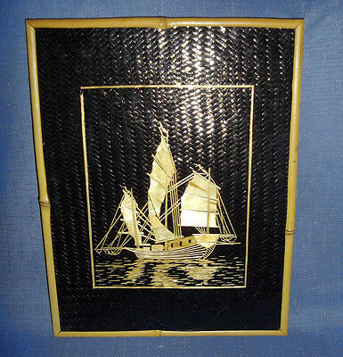 Vintage 1950's Artisan Crafted Nautical Picture Of Ship Made Of Bamboo In Taiwan