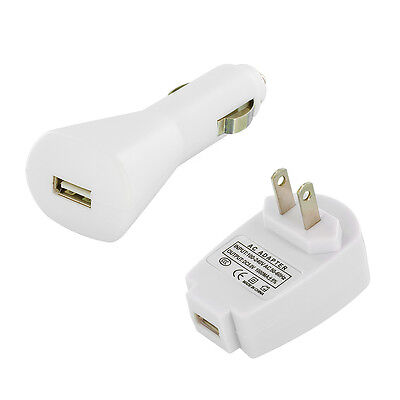 White Wall+Car Charger Adapter for iPod Touch 5th 4th Gen 5G / Nano 7th 6th