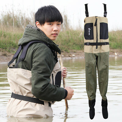 Chest fishing waders with stocking foot, breathable wading pants for fly fishing