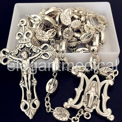 SILVER Italy Catholic Our Lady Of Grace Mary Rosary Crucifix Cross necklace box