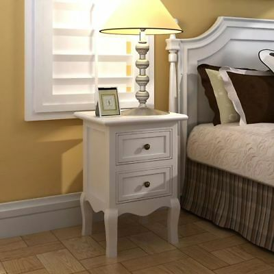New Set Of 2 Two White Cabinets Nightstand Bed Stands French Style Mdf Storage