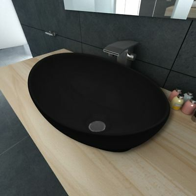 Bathroom Ceramic Basin Vessel Sink Wash Basin Oval Shaped Black 40 x 33 cm